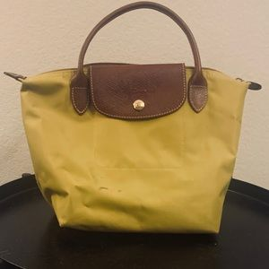 Longchamp mustard yellow small LePliage tote